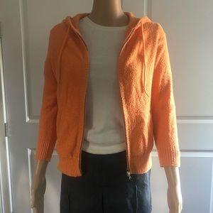 🎁HP!🎁THEORY tangerine chenille hooded sweatshirt